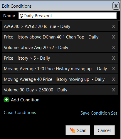 Daily Breakout Scans - TC2000 Easyscan Criteria
