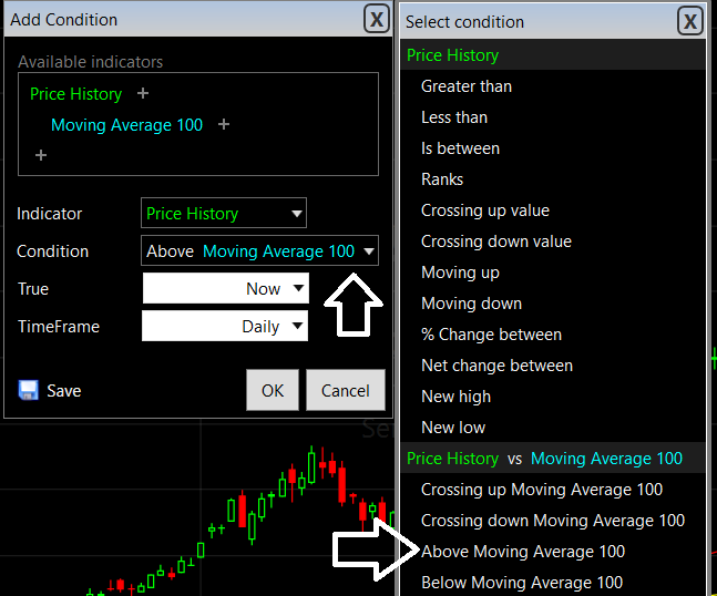 TC2000 Stocks on the Move Above 100 Simple Moving Average